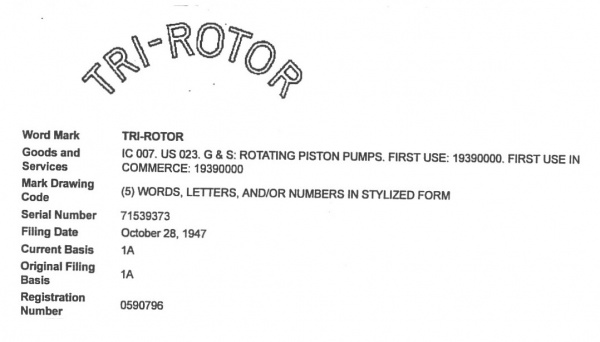 Tri-Rotor 1947 rotary piston pump trademark