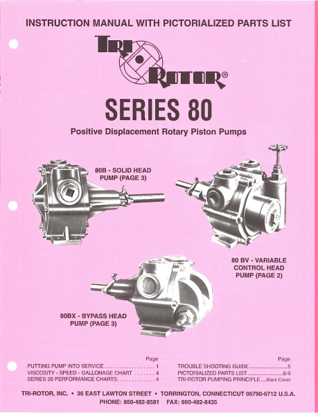 Tri-Rotor Series 80 Instruction Manual