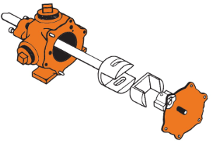 broken apart pump showing parts